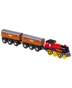 Elektricka lokomotiva se dvema nakladnimi vagony a