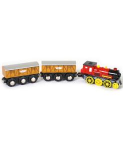 Elektricka lokomotiva se dvema nakladnimi vagony b