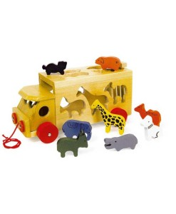 Zoologický vůz se zvířaty a