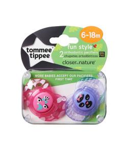 Tommee Tippee dudlik C2N Fun Style, 6 - 18 mesicu, 2 ks (ruzova, fialova) b