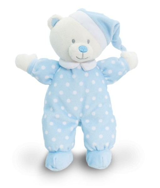 Keel Toys modry medvidek s puntiky na dobrou noc a
