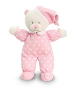 Keel Toys ruzovy medvidek s puntiky na dobrou noc a