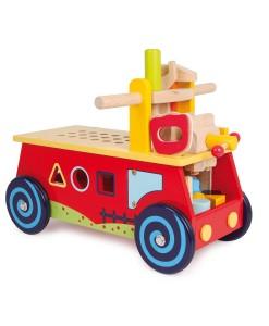Legler dreveny motoricky vozik a pracovní stul 2v1 b