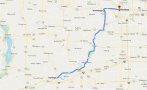 Cesta Amy Joan Marie Fry-Pitzen po státě Illinois. Foto: Klaudia.cz s využitím Google Maps