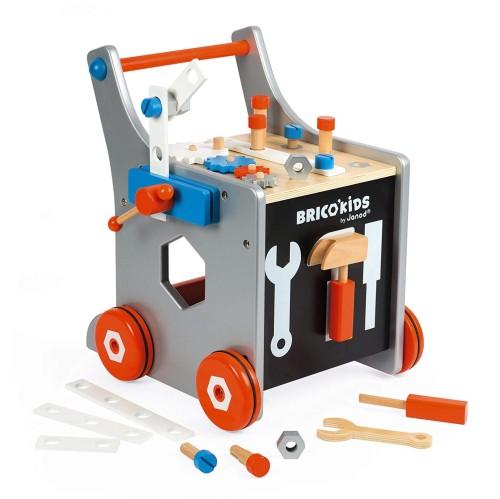 Janod-dreveny-vozik-Brico-Kids-s-magnetickym-prislusenstvim-a