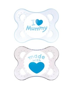 MAM dudlik Style, 0m+, 2 ks (Mummy, srdicko modry) a