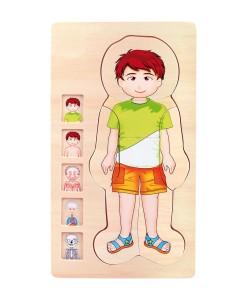 Legler drevene puzzle anatomie chlapec Tim a