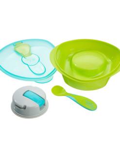 Vital Baby miska s prisavkou, lzickou a vickem (zelena) a