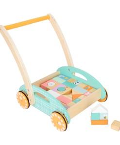 Legler pastelove choditko, vozik s drevenymi kostkami a