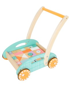 Legler pastelove choditko, vozik s drevenymi kostkami b